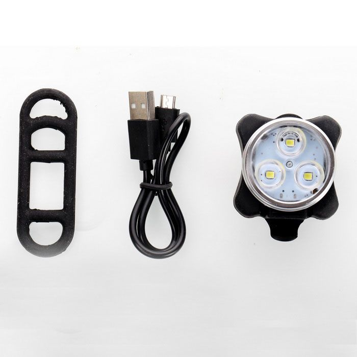 Mini White Light 4-Mode Waterproof USB Rechargeable LED Bicycle Light