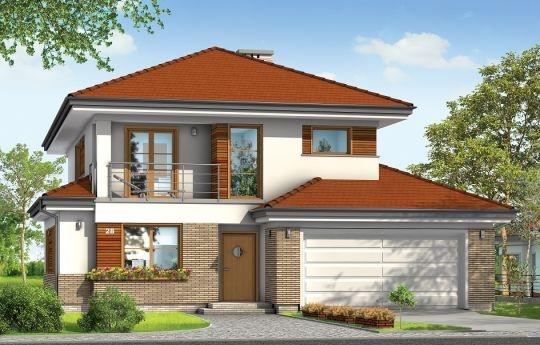 Projekt Kasjopea 3 to dom jednorodzinny dla rodziny cztero-sześcioosobowej. Piętrowy budynek przykryty wielospadowym dachem. Zwarta, prosta w budowie bryła budynku z dobudowanym garażem została urozmaicona okładziną klinkierową elewacji, oraz podcieniami - wejściowym i ogrodowym. W projekcie domu położyliśmy szczególny nacisk na czystość i prostotę formy budynku.