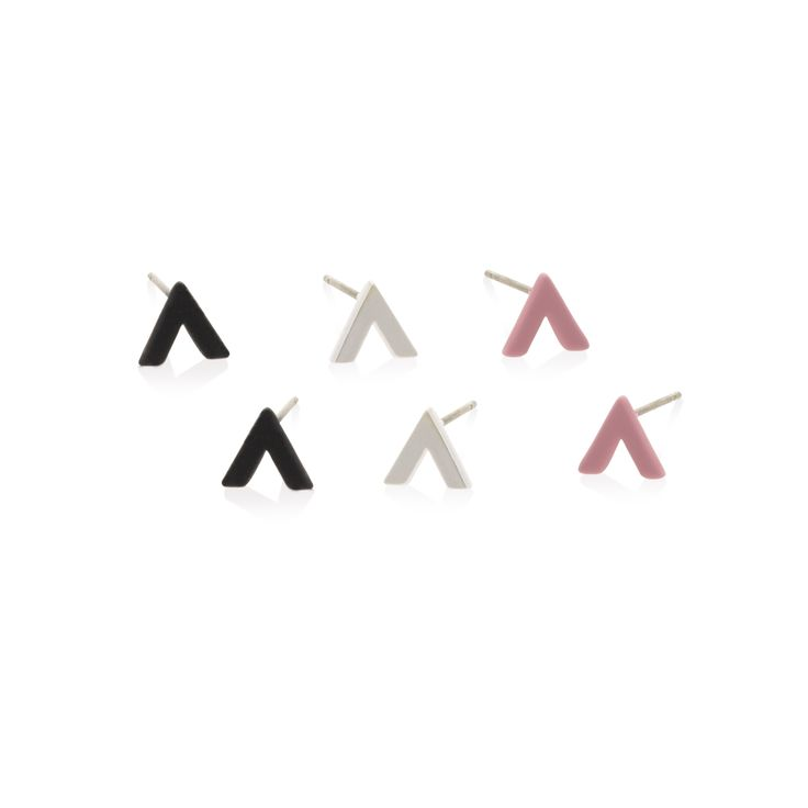 Buy the Set of Three Chevron Rubber Stud Earrings at Oliver Bonas. Enjoy free worldwide standard delivery for orders over £50.