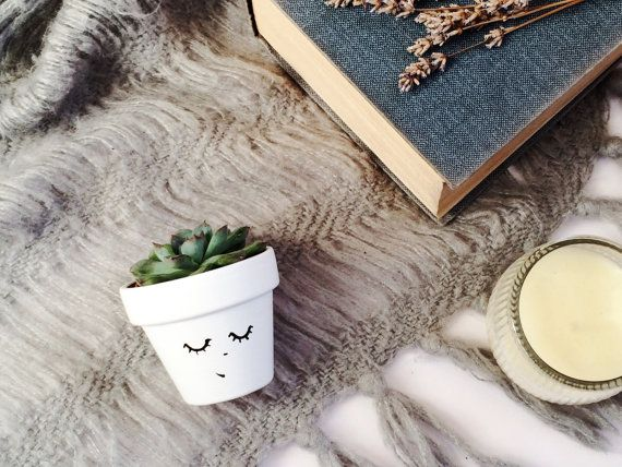Planter   Succulent Mini Planter   Hygge Decor   Cactus Pot   Minimalist  Indoor   Home Decor   Face Plant   Office Decor   Scandinavian