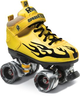 The Rock Flame Yellow w/ Black Flame a.k.a The Buzz  Boots:  Rock speed boots with padded collar, foam tongue, and cushion footbed. Plus, the flames on the side. http://shop.rollwithitct.com/The-Rock-Flame-Yellow-w-Black-Flame-aka-The-Buzz-SESRFYB.htm