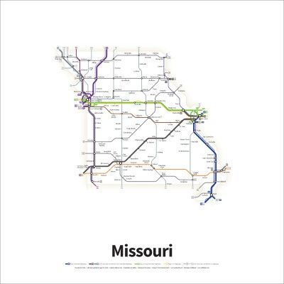a simplified road map of every interstate highway and us route in the state of missouri