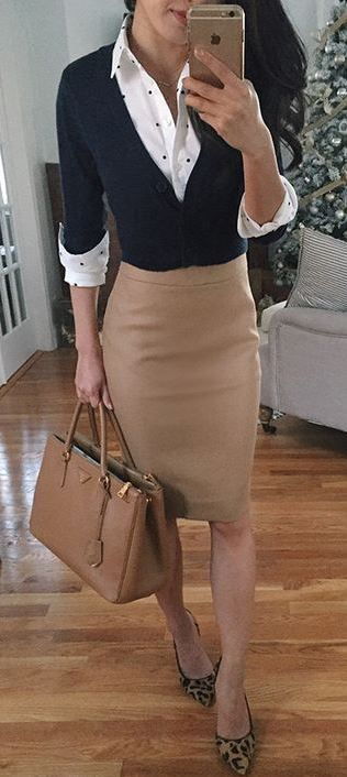 office style perfection / white shirt + sweater + bag + nude skirt + printed heels #skirtoutfits