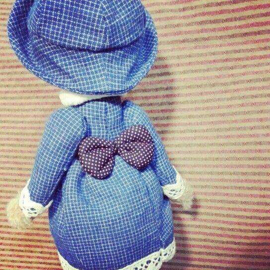 藍格子洋裝背面