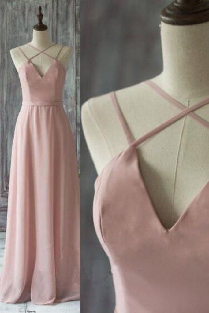 Chiffon prom dress, ball gown, unique design blush pink chiffon long dress for prom 2017