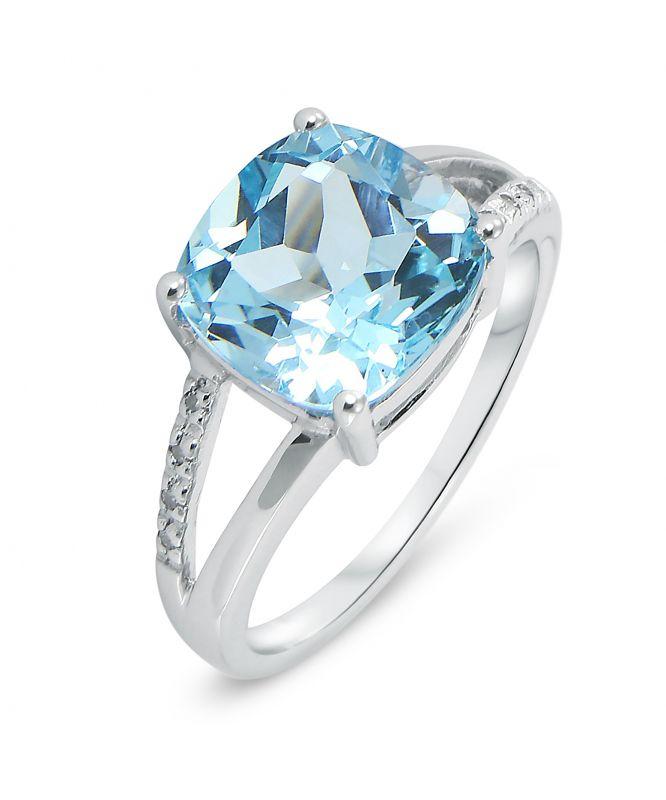 Or blanc argent sterling bleu brillant topaze Wedding Engagement Ring Set