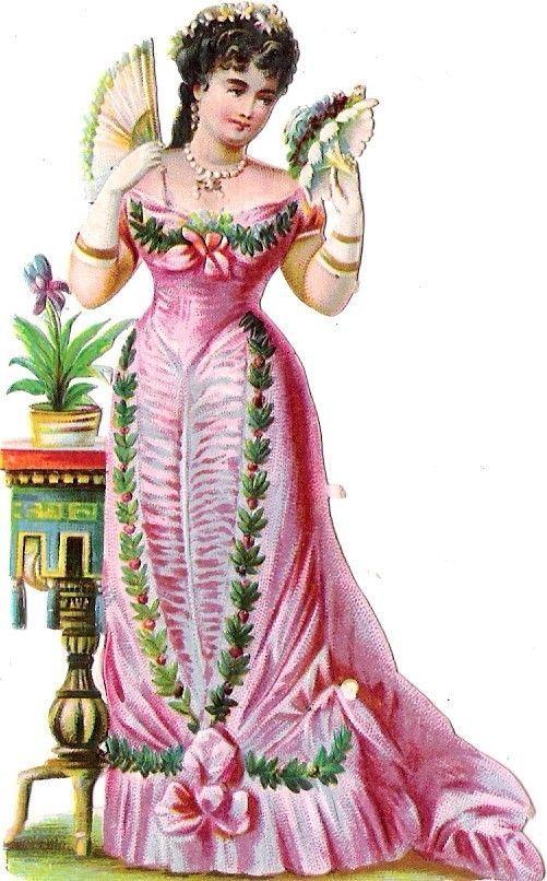 Oblaten Glanzbild scrap die cut chromo Dame lady 10,3cm femme girl: