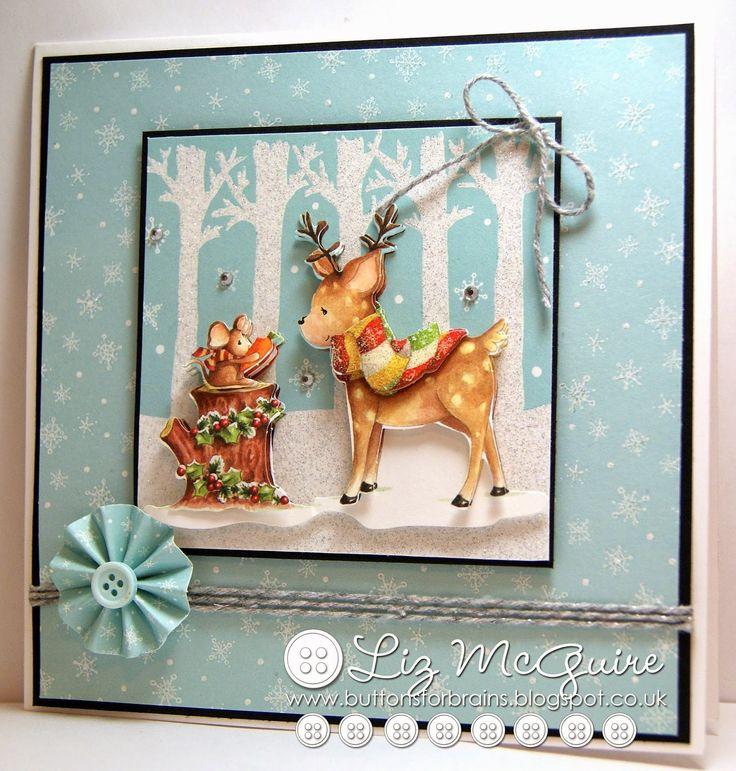 Helz Cuppleditch Winter Woodland lovely Christmas card by Liz McGuire