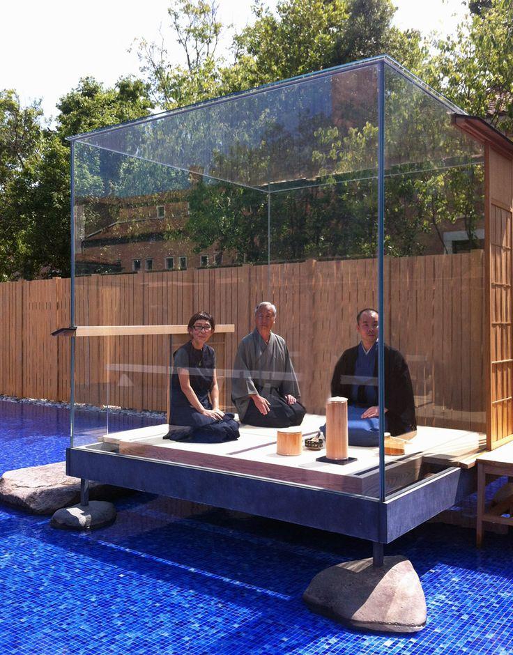 Glass Tea House Mondrian by Hiroshi Sugimoto in Venice Kazuyo Sejima of SANAA and Hiroshi Sugimoto within the cube