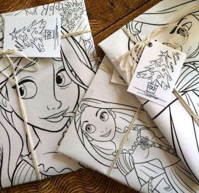Riciclo daun albumdi disegnoda colorare, aggiungi i colori al regalo, troppo divertente!  wrapping from a giant coloring book - add crayons as a decoration too - fun!