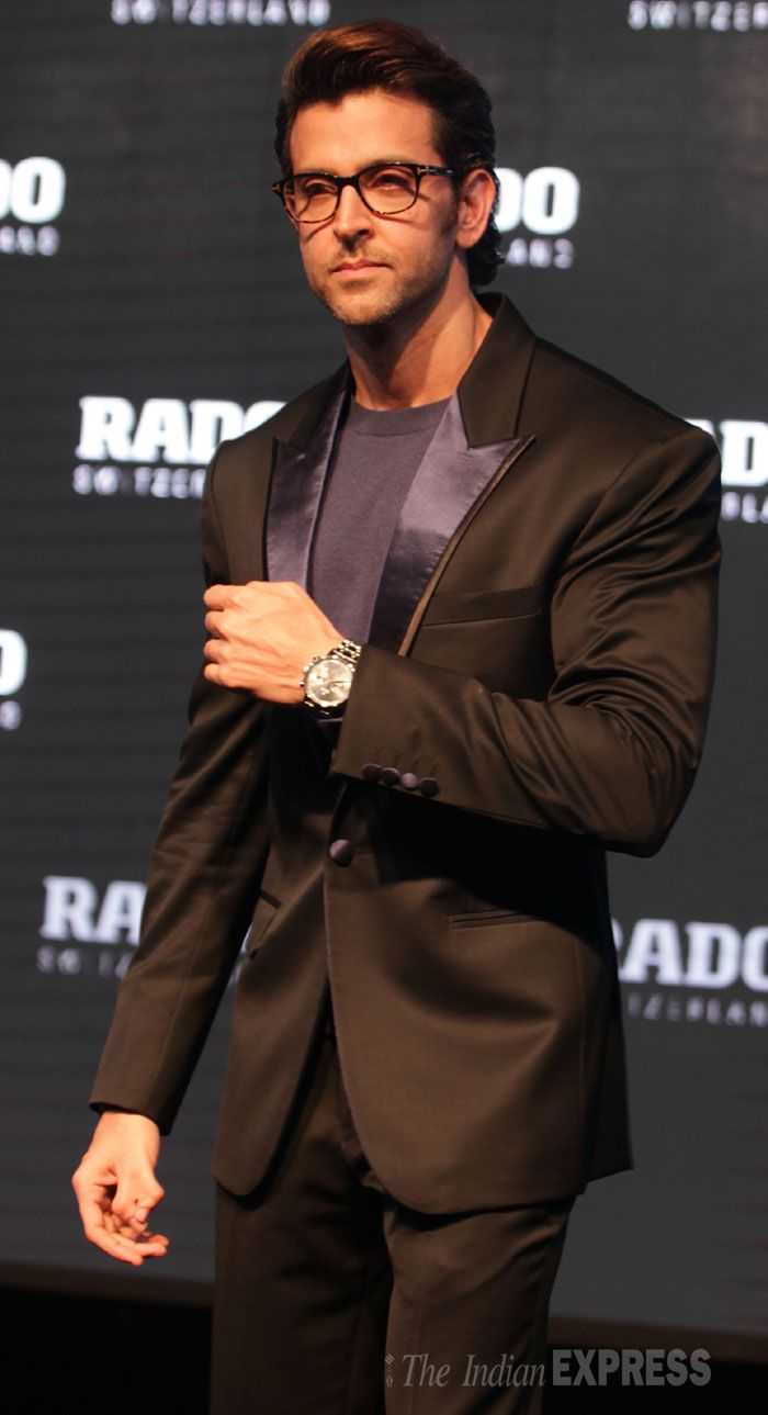 Hrithik Roshan looking dashing in a dark suit at an event for RADO watch