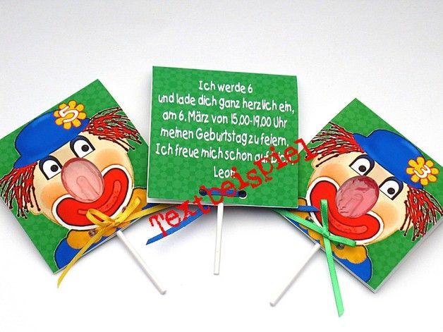 Einladungskarten   Kindergeburtstag Einladungen 3 Er Set Clown   Ein  Designerstück Von Reizvoll Bei DaWanda