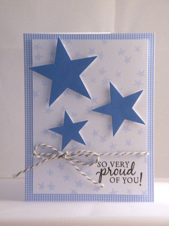 blue and white congratulations card with stars by