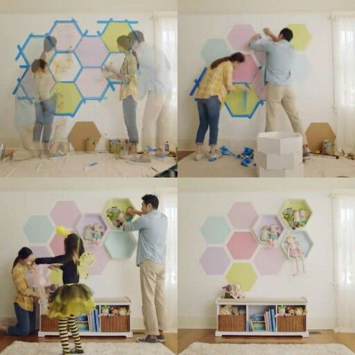 Lowe's home improvement diy wall honeycomb print hexagon shelves playroom kids room storage