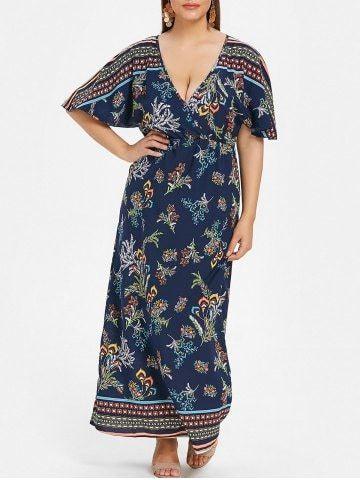 d871a6f37bdf Plus μέγεθος Floral Εκτύπωση φόρεμα Maxi Surplice