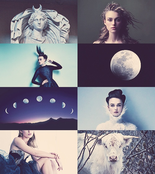 Selene, goddess of the moon. She is the daughter of the Titans Hyperion and Theia, and sister of the sun-god Helios, and Eos, goddess of the dawn. She drives her moon chariot across the heavens. Several lovers are attributed to her in various myths, including Zeus, Pan, and the mortal Endymion.