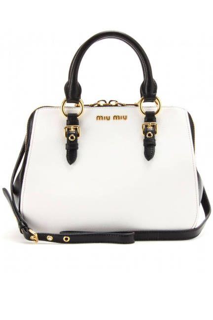 Bright bags to buy now! Black & white Miu Miu shopper