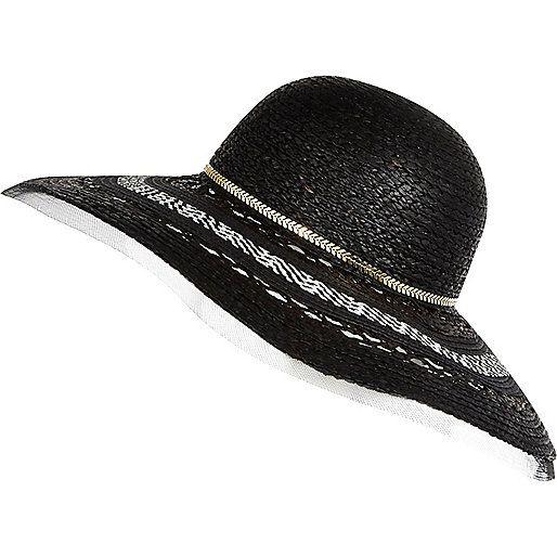 Black straw net edge floppy hat - hats - accessories - women