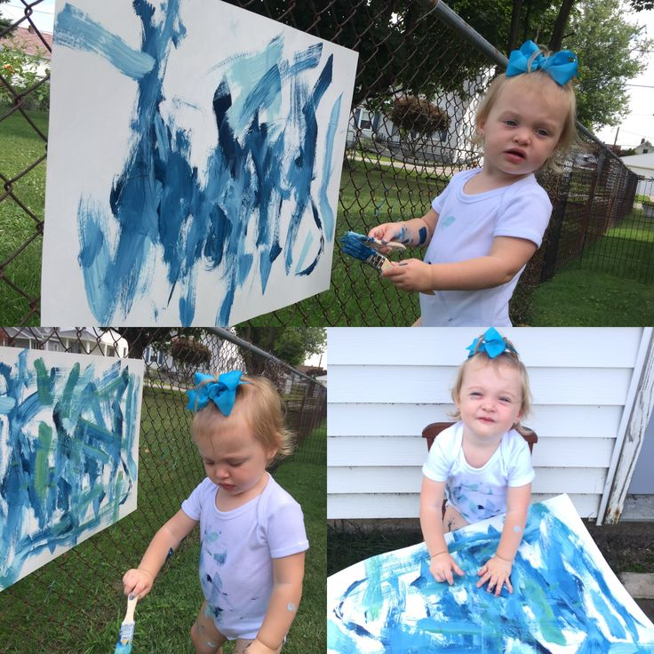 Sibling gender reveal. Have the older sibling paint a picture for the new baby to