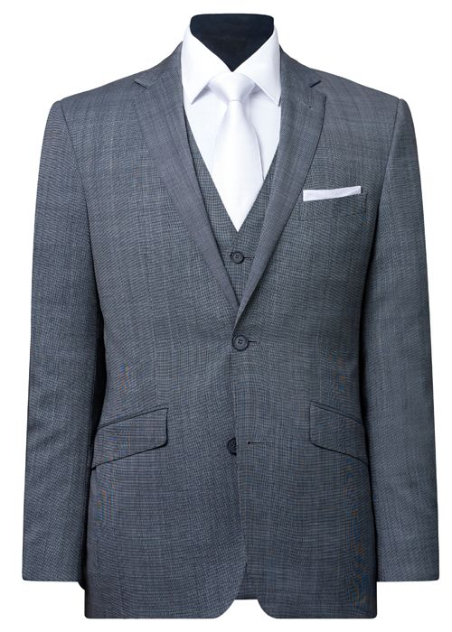 Max – Light Grey subtle checkered pattern pure wool two button slim fit lounge suit pictured with matching Max vest and white Breeze accessories.  Ferrari Formalwear suit hire range boasts over 20 styles ranging from traditional black dinner suits and tails to the latest fashion lounge suits.