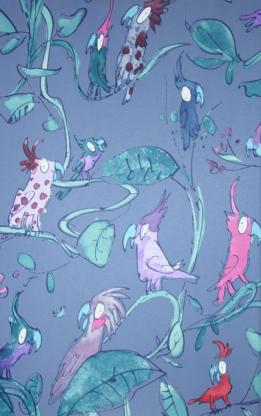 Wonderful Quentin Blake designed wallpaper of Cockatoos in pinks and mauves on a blue background