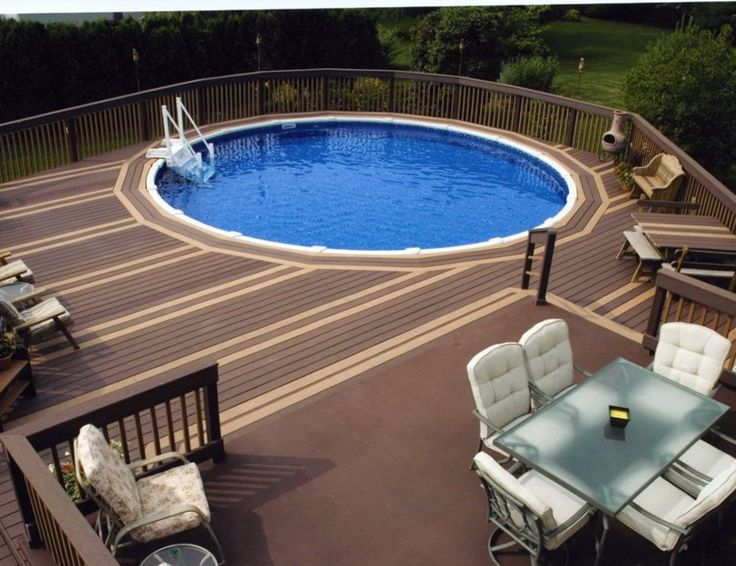 curved deck around back side of pool