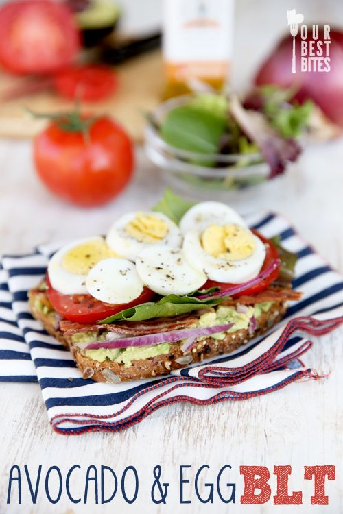 One of my favorite go-to healthy lunches: Avocado-Egg BLT. Full of protein, fiber, whole grains, and healthy fats. Delicious and filling, too!