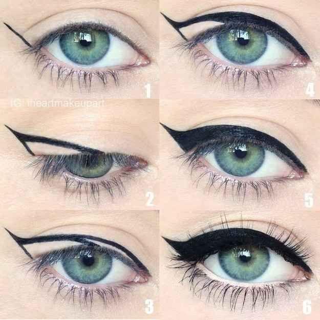Forma básica de se fazer o risco com eyeliner