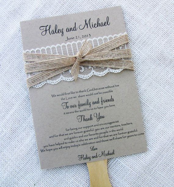 Rustic Country Shabby Chic Lace and Burlap Ribbon Wedding Fan Program