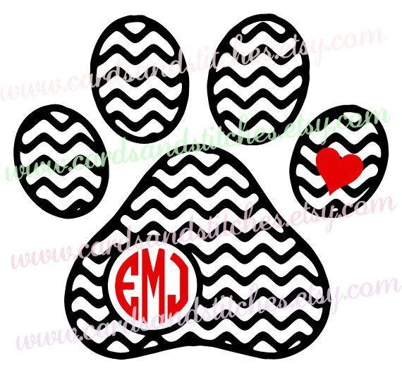 Dog Paw Monogram Svg Chevron Dog Paw Digital Cutting