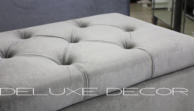 Harper Elegant GREY Velvet Tufted Upholstered Storage Ottoman Seat http://deluxedecor.com.au/products-page/harper-collection/harper-elegant-grey-velvet-tufted-upholstered-storage-ottoman-seat/