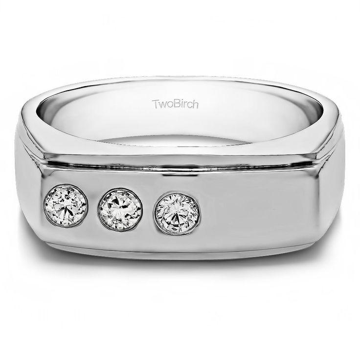 14k White Gold Men's 2/5ct TDW Diamond Unique Fashion Ring (G-H, I2-I3) (14k Two Tone Gold, Size 13), Two-Tone