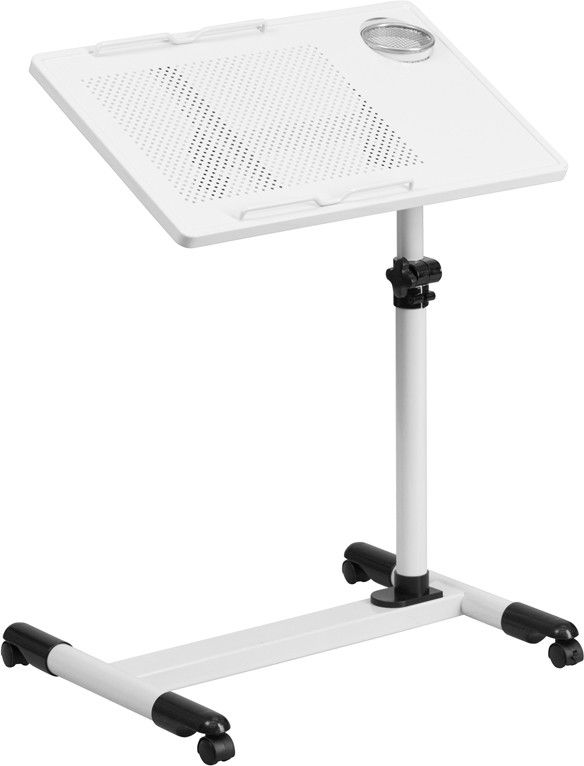 Adjustable Height Steel Mobile Computer Desk-White
