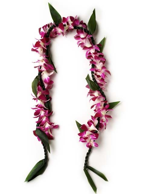 Ti Leaf & Bombay Orchid lei