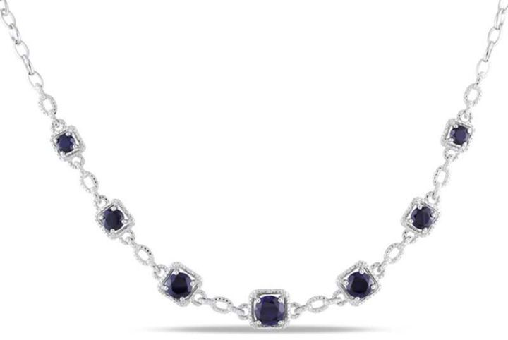 """Zales Lab-Created Blue Sapphire and Diamond Accent Necklace set in Sterling Silver - 17"""""""