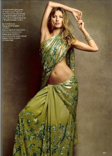 Gisele Bundchen (Vogue India September 2009) she looks amazing in a saree, The Bold and Beautiful