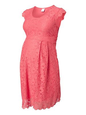 LACE MATERNITY DRESS, SHORT, Calypso Coral, main