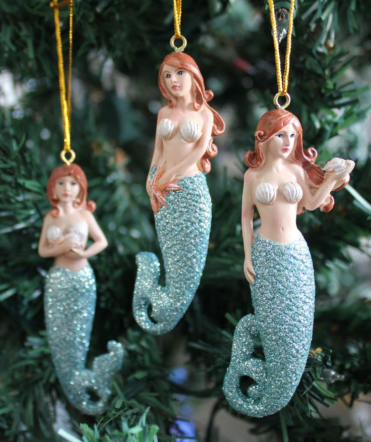 Beauty of the sea ornaments are fun and whimsical with blue glitter tails, and for anyone who loves mermaids.