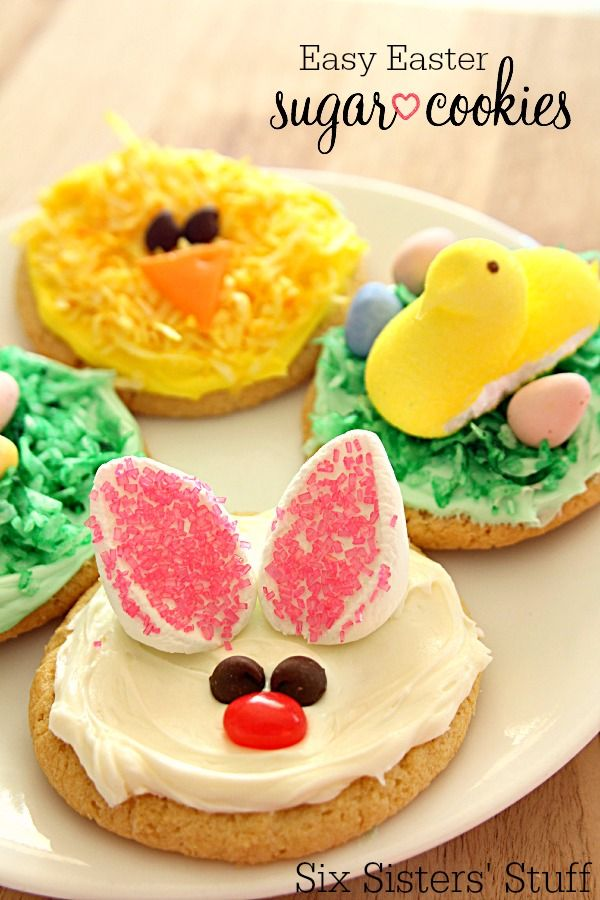 Easy Easter Sugar Cookies on SixSistersStuff | This delectable sugar cookie recipe tastes delicious and includes 3 adorable ideas to decorate your cookies for Easter.