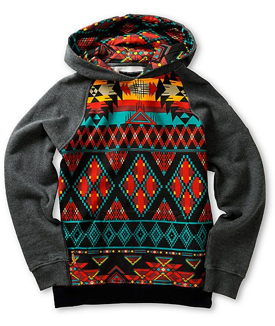 A colorful tribal print body contrasts the charcoal raglan sleeves with a tribal print lined hood and a soft fleece lining for great warmth and comfort.
