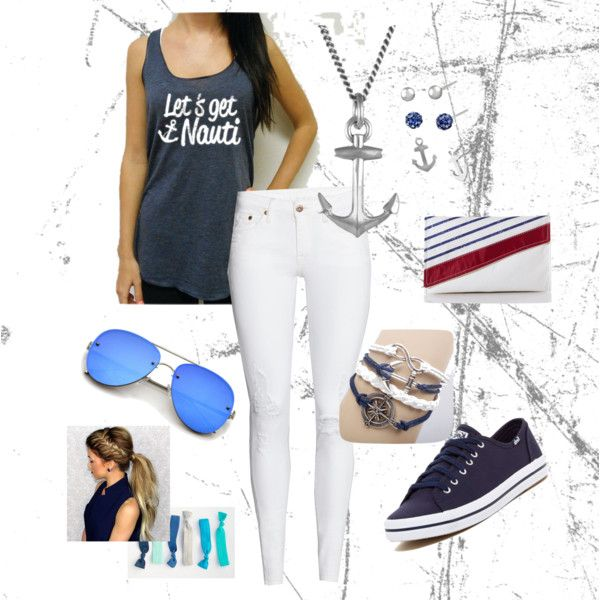Let's get nauti - outfit idea for the Navy Mariner Stripe Clutch from reminner on Polyvore.