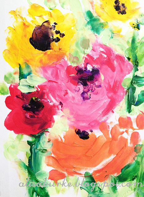 alisa burke   finger-painted flowers  ...love her process video