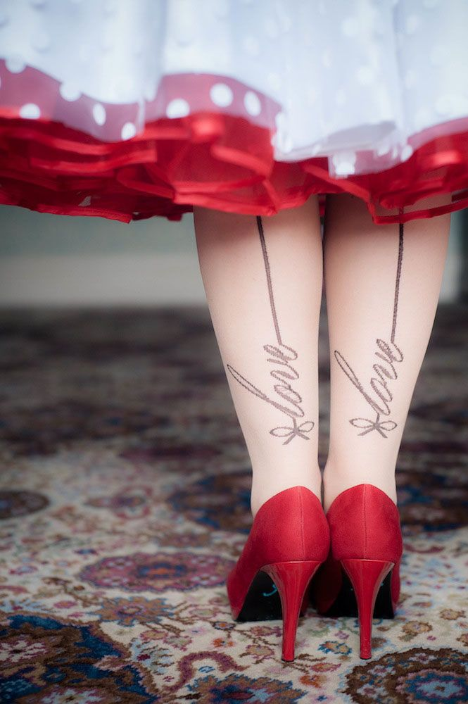 my legs! polka dot wedding dress, love stockings, red shoes, red petticoat