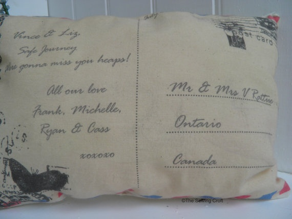 Postcard Personal Message Pillow Retirement by TheSewingCroft, £16.00
