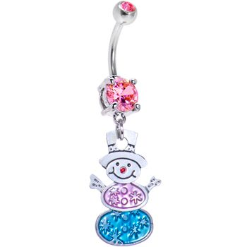 FESTIVE SNOWMAN Dangle Belly Ring | Body Candy Body Jewelry