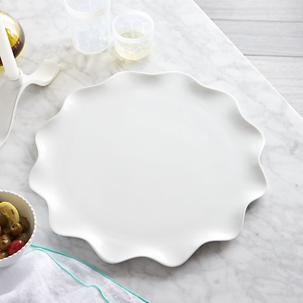 Holiday Hostess Gifts:Crate&Barrel Mallorca Round Platter-from What Would Kate Do?