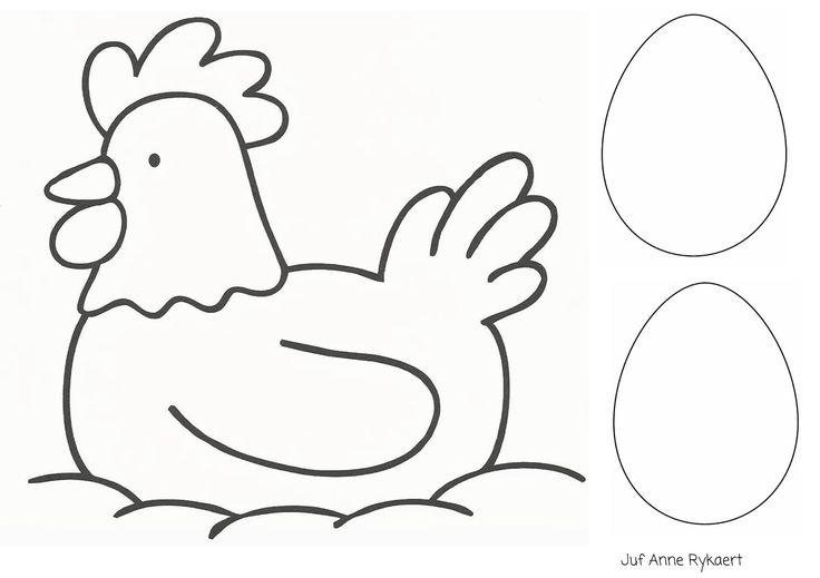 Kleurplaat: kip met eieren