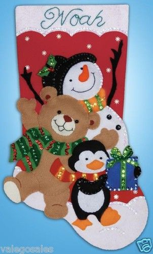 "Design Works Felt Applique kit 18"" Stocking ~ HOLIDAY FRIENDS #5232"