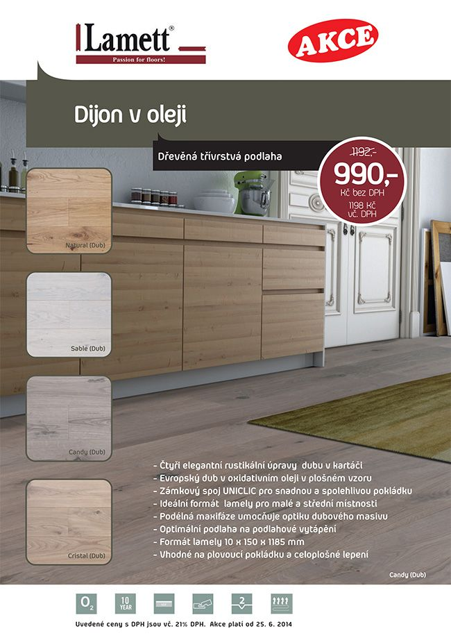 Lamett DIJON je nová řada dubových dřevěných podlahovin s lehce rustikálním tříděním, s kratšími olejovanými lamelami . Nosnou desku podlah tvoří HDF deska, nášlapná vrstva je 2 mm. Lamely jsou lehce kartáčované s podélnou maxifází. Podlahy této kolekce jsou vhodné pro podlahové vytápění. http://podlahove-studio.com/175-dijon