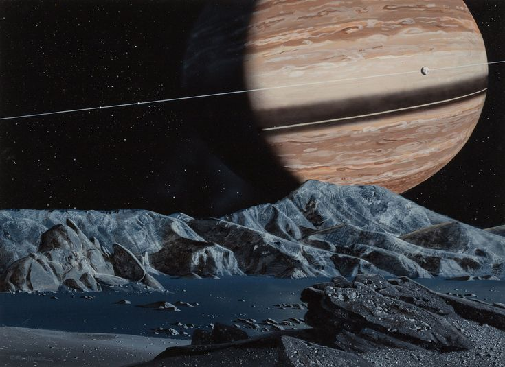 ron miller - saturn as seen from enceladus, 1979